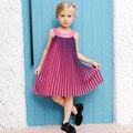 0-12Y Estilo Adolescente Chica vestido de Noche Vestido de Algodón Plisado 2016 Del Verano de Princesa Dress Kids Clothes Niños Vestidos de Fiesta para Niñas