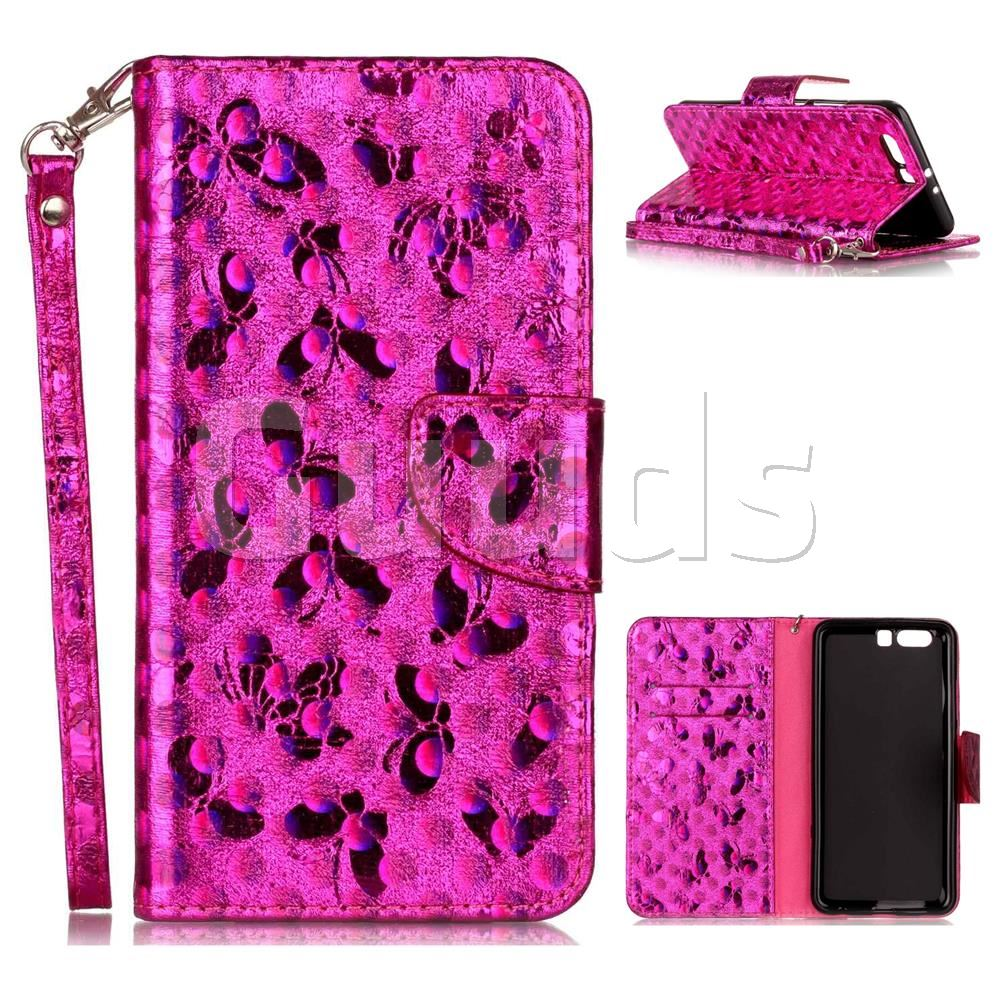 Luxury Laser Butterfly Optical Maser Leather Wallet Case for Huawei P10 Plus - Rose