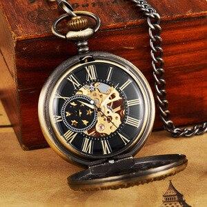 Image 5 - Ретро полые механические карманные часы с цепочкой FOB, золотые звезды, Скелетон, винтажные мужские и женские карманные часы с ручным намоткой