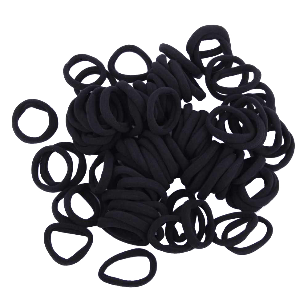 100pcs/lot Black Elastic Hair Ties Kids Girls Hair Band Rope Ponytail Holders Scrunchie Headband Hair Accessories Drop Shipping