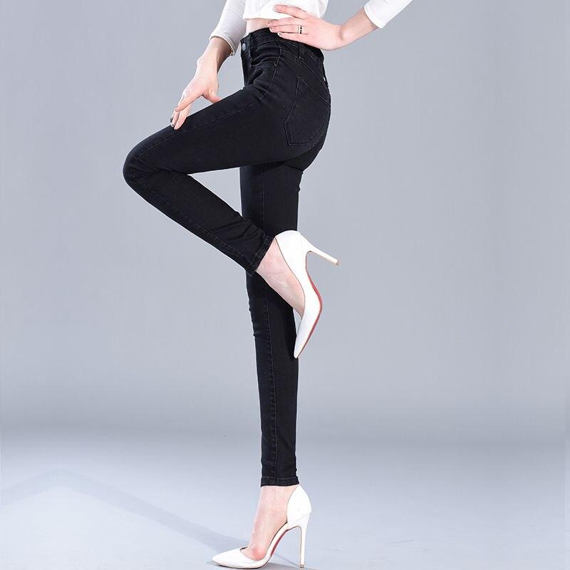 Women Leggings New Skinny High Waist Jeans Trousers Denim Stretchy Pencil Pants  Washed Black Blue Slim Plus Size 2019