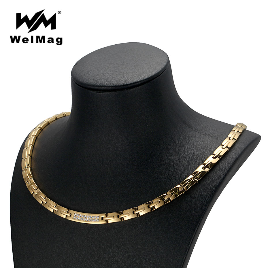 WelMag Health Energy Necklaces Crystal Hematite Magnetic Necklace for Women Men Dropshipping 2018 Gold Color Jewelry