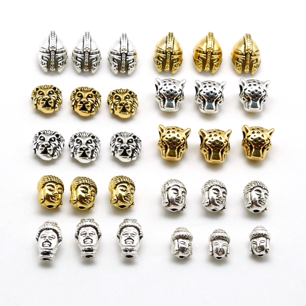 10pcs Metal Charm Beads Tibetan Buddha leopard Lion Heads Bead For Jewelry Finding Making DIY Handmade Bracelet Accessory