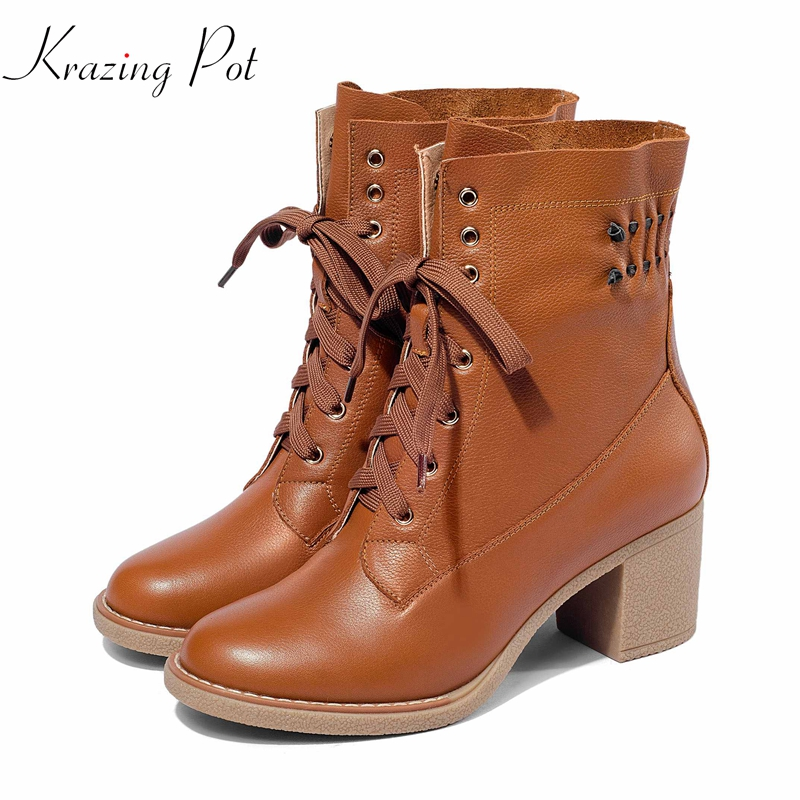 krazing pot streetwear full grain leather keep warm rivets Western boots lace up pleated decoration mature lady ankle boots L59 lace insert detail pleated panty