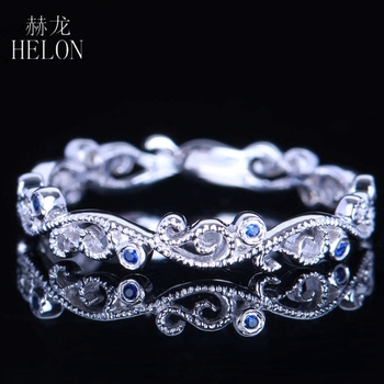 HELON Real 10k White Gold Engagement Wedding Genuine Sapphires Ring Art Deco Retro Antique Milgrain Style Band image