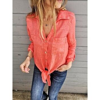 ed3137c3b2ff Cuello en V camisa de manga larga camisa suelta blusa de color sólido para  mujer blusa de cuello vuelto blusa SJ3463Y