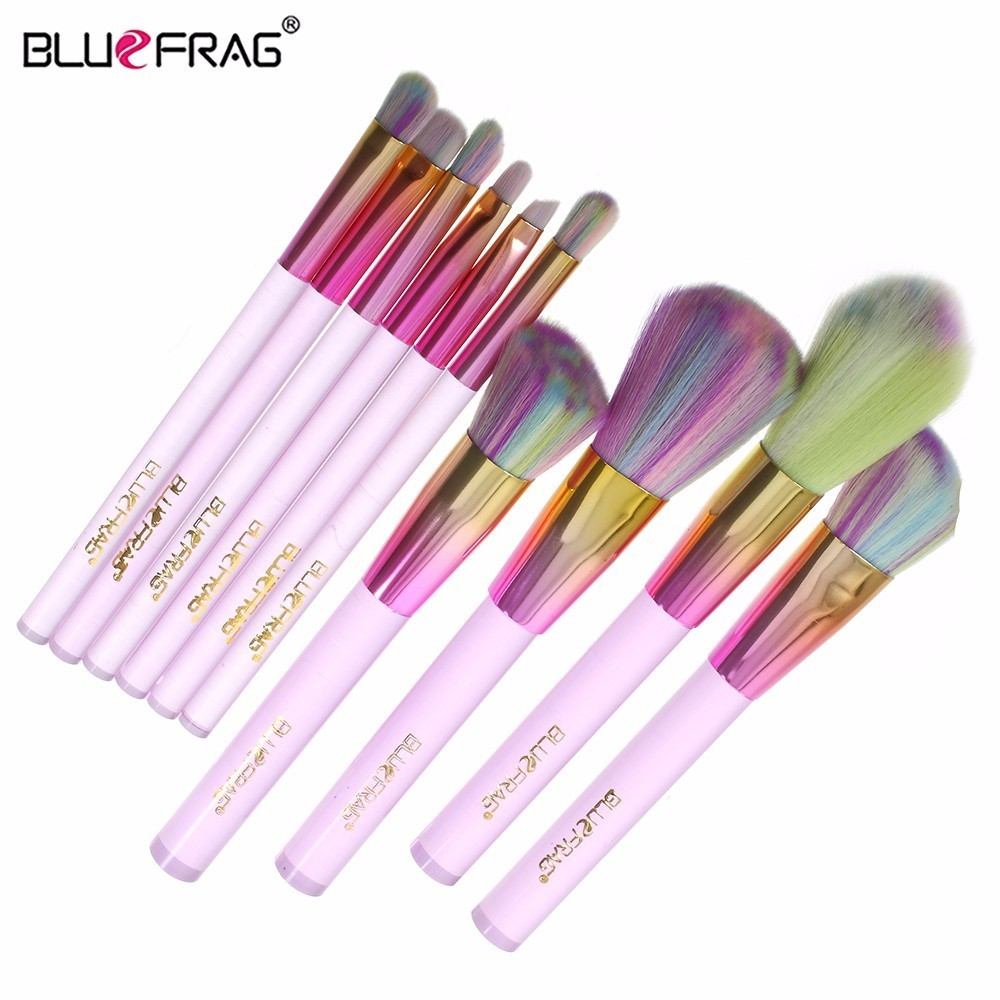 BLUEFRAG 10pcs Makeup Brush Set Full Professional Makeup Brush Kit Cosmetic Blending Brush Pincel Maquiagem Eye Shadow Brushes кисть tony moly professional blending shadow brush 1 шт