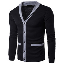 hot deal buy 2017 spring new brand men sweaters knitted cardigan long sleeve knitwear patchwork sweatercoat jacket classic male clothing