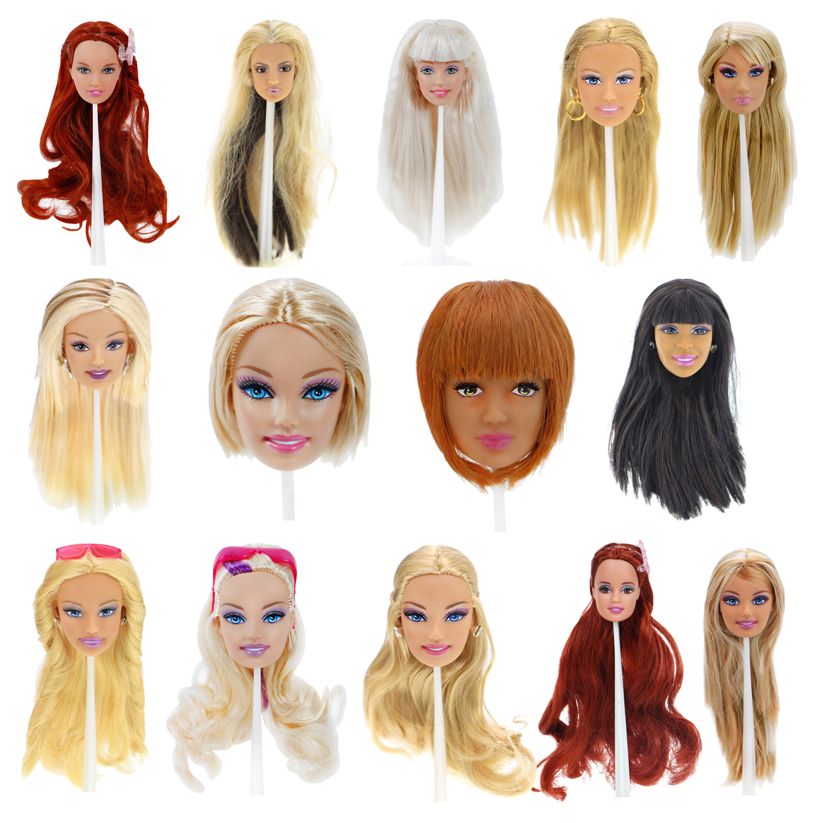 Excellent Quality Doll Head Different Face Straight Curly Hair With Fashion Random Earrings DIY Accessories For 12