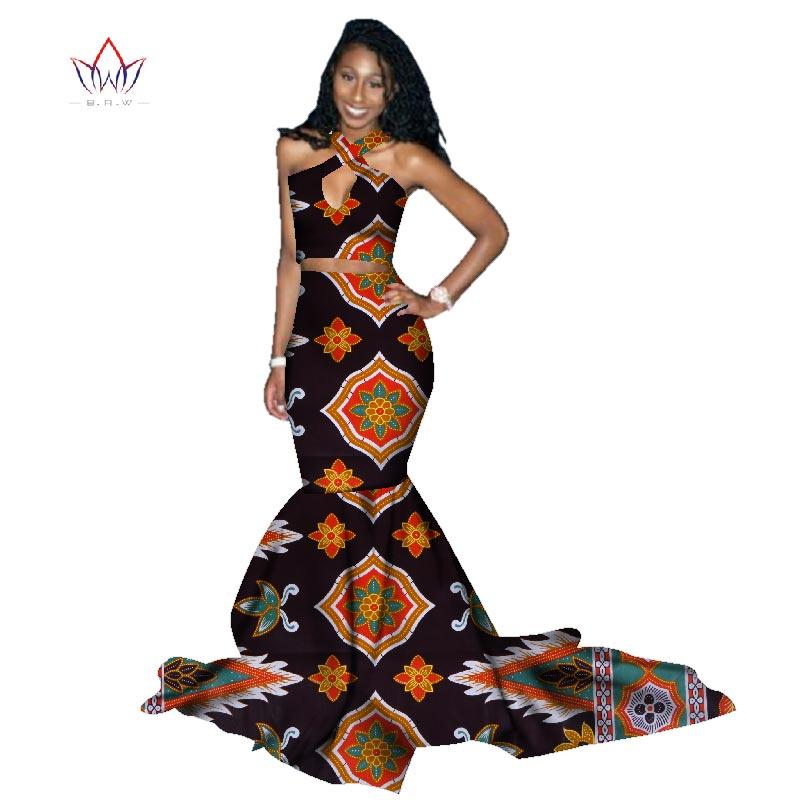 Summer-2019 African 2 Piece Set Women Dashiki Halter Collar Long - Dámské oblečení