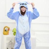 New Flannel Stitch Onesie Unisex Adult Blue Pink Stich Pajamas Cosplay Costume Animal Pyjamas Children Pajamas