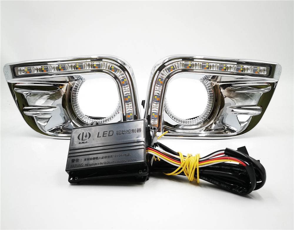 CSCSNL 1 set For Toyota Prado FJ150 LC150 2010 2011 2013  LED DRL Daytime Running Lights  with trunning Yellow Signal lights-in Car Light Assembly from Automobiles & Motorcycles    2