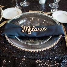 Вырезанные слова для свадебной вечеринки или события Декор, эскорт карточный стол вечерние таблички Золотое место имя карты деревянные таблички названия