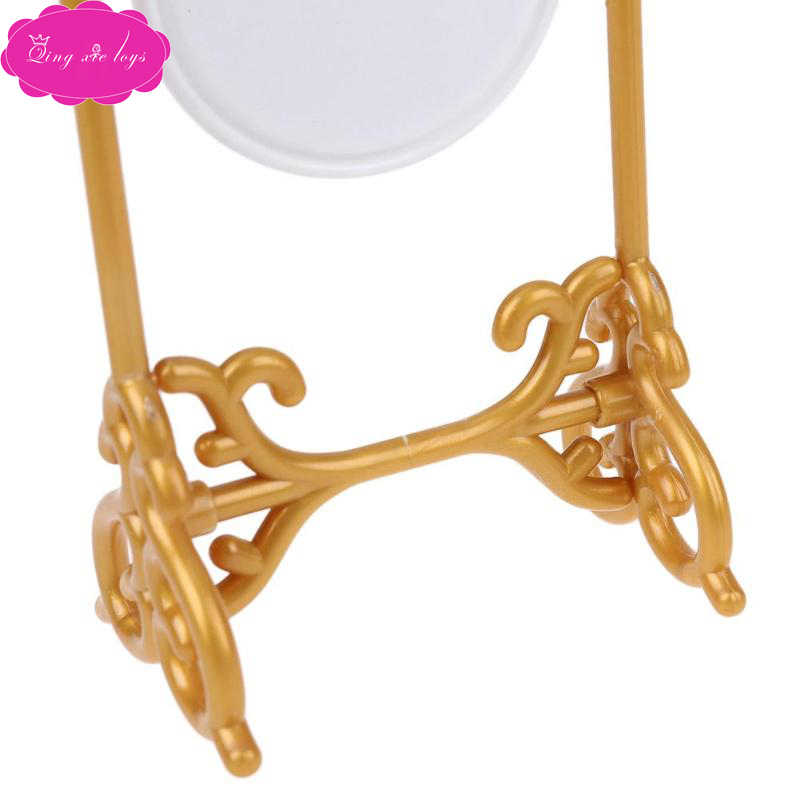 Lalki miniaturowy domek dla lalek Babie girl pełnowymiarowe lustro złote plastikowe krawędzie obrotowe białe lustro amerykańskie akcesoria do zabawek Q19