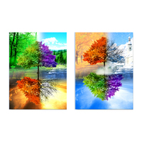 HD Spray Paintings 2 Panels Paintings Four Seasons Trees Modern Canvas Art Wall Pictures For Living