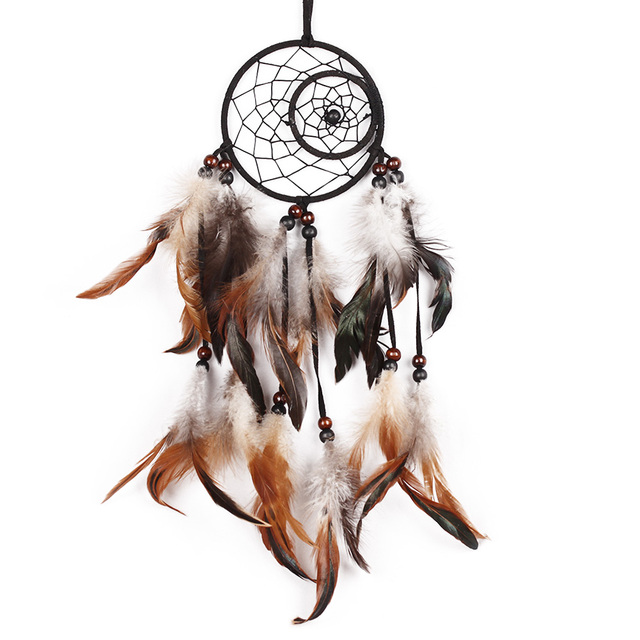 Indian Dreamcatcher Handmade Brown Dream Catcher With Feathers Wall