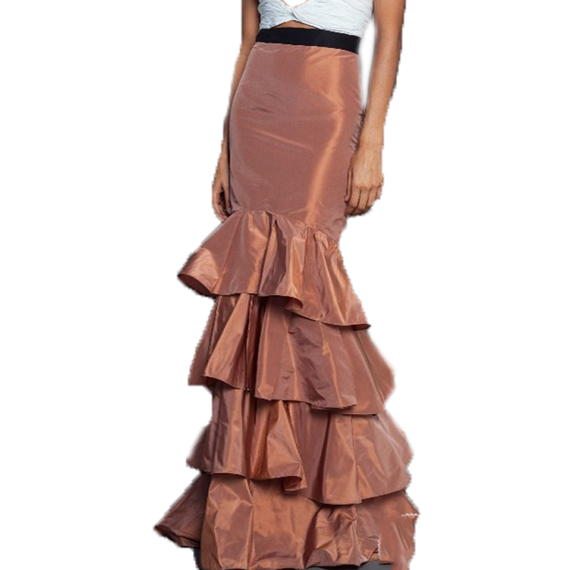 Mermiad Long Women's Skirts With Black Elastic Belt Tiered Ruffle Floor-Length Formal Party Prom Skirt Taffeta
