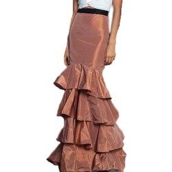 Mermiad Long Women's Skirts With Black Elastic Belt Tiered Ruffle Floor-Length Formal Party Prom Skirt Taffeta