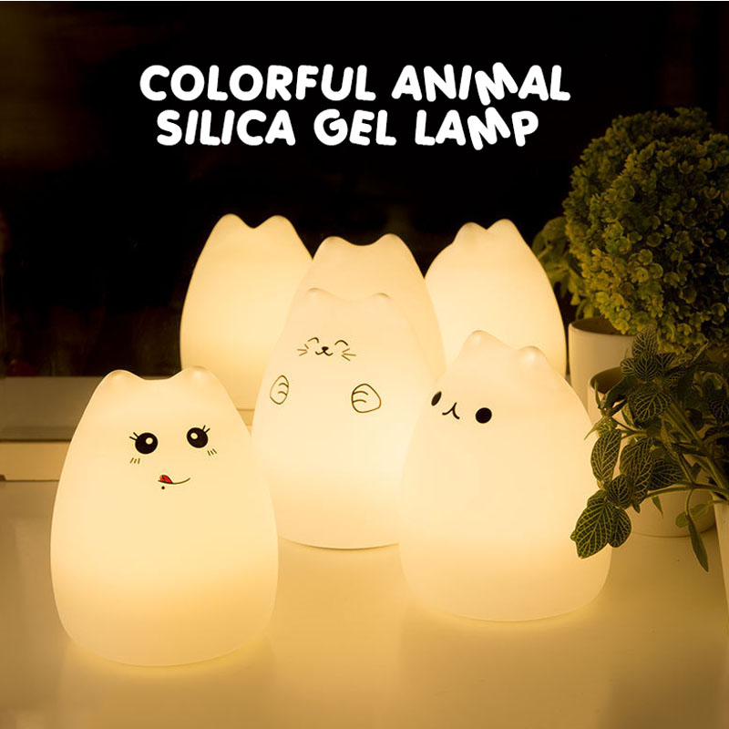 USB Rechargeable LED Colorful Night Light Silicone Soft Breathing Cartoon Animal Cat stype Baby Nursery Lamp for Children Gift colorful cat cartoon usb charging led night light