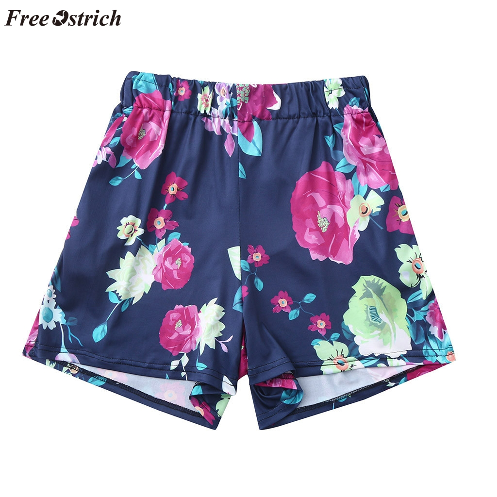 FREE OSTRICH Women's summer personality flower print   shorts   soft cloth comfortable sexy sports   shorts   fashion trend mini   shorts