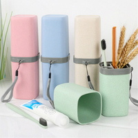 Wheat Straw Storage Box For Toothbrush Toothpaste Travel Outdoor Toothbrush Holder Protect Case Cup Storage Bathroom