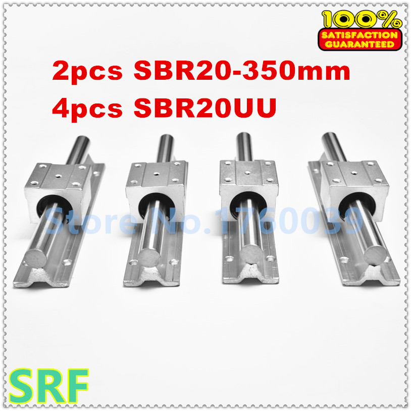 ФОТО Free shipping 2set  SBR20 L350mm  linear guide support rail with 4pcs SBR20UU  Slide Blocks