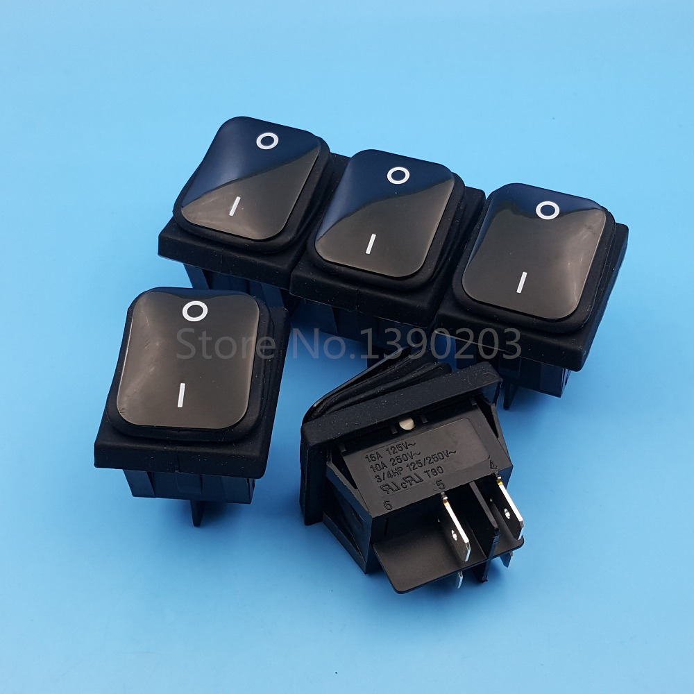 5Pcs RL2 Black Waterproof 4Pin 2Position Locking DPST ON-OFF Rocker Switch 250vac 15a 125vac 20a 4 pin 2 position dpst on off snap in rocker switch kcd2 201n