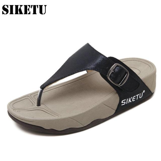 033b3bec5b4b86 Women Flip Flops Slipper Bohemia Beach Casual Shoes Slip on Cozy Sandals  Fashion Wedges Buckle Girls Ladies Flip Flops Sandals