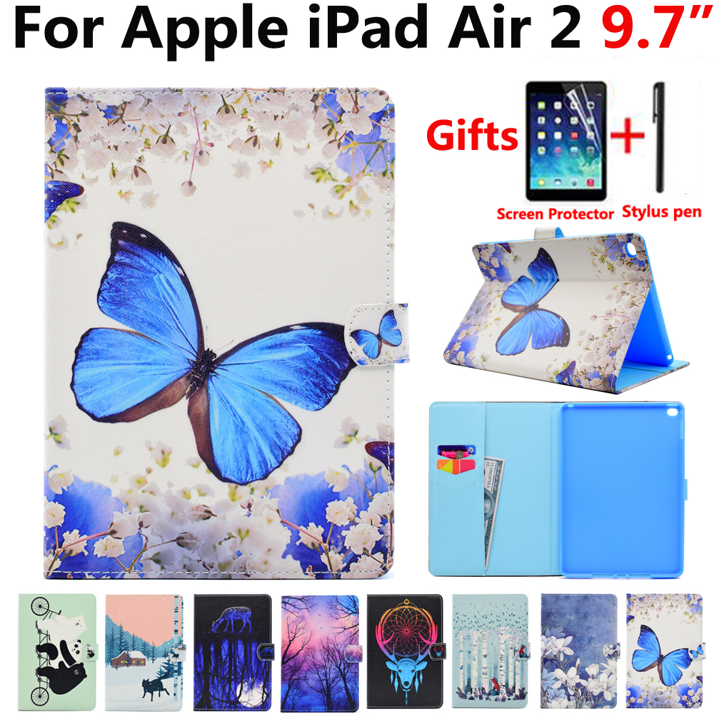 Butterfly Case for Apple iPad Air 2/Air2 iPad 6 9.7 inch High Quality Flip Magnet Sleep Wake Cover Case for iPad A1566 A1567