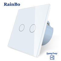 RainBo Wall Light Switch Remote Touch Switch Screen Crystal Glass Panel wall switch EU Remote 110~250V 2gang2way A1922CW/B