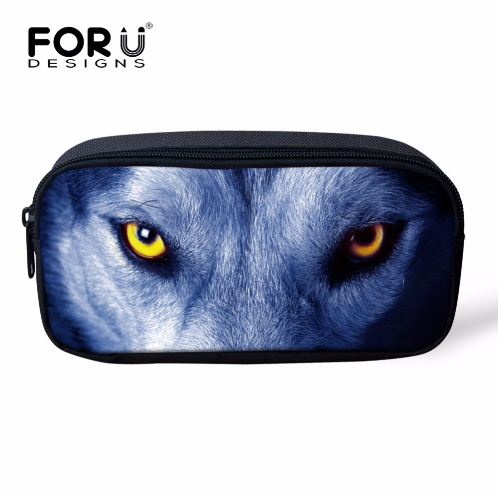 FORUDESIGNS Women Cosmetic Makeup Bags 3D Tiger Lion Leopard Printed Pencil  Case Box Students Stationery School U0026Office Supplies
