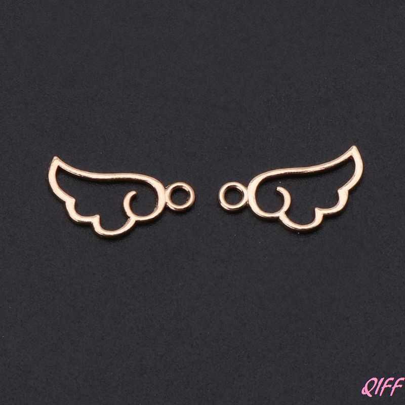 10 piezas Ángel ala marco de Metal colgante bisel abierto ajuste UV resina joyería encanto