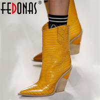 FEDONAS Fashion Embossed Microfiber Leather Women Mid calf Boots Toe Western Cowboy Boots Chunky High Heels Motorcycle Boots