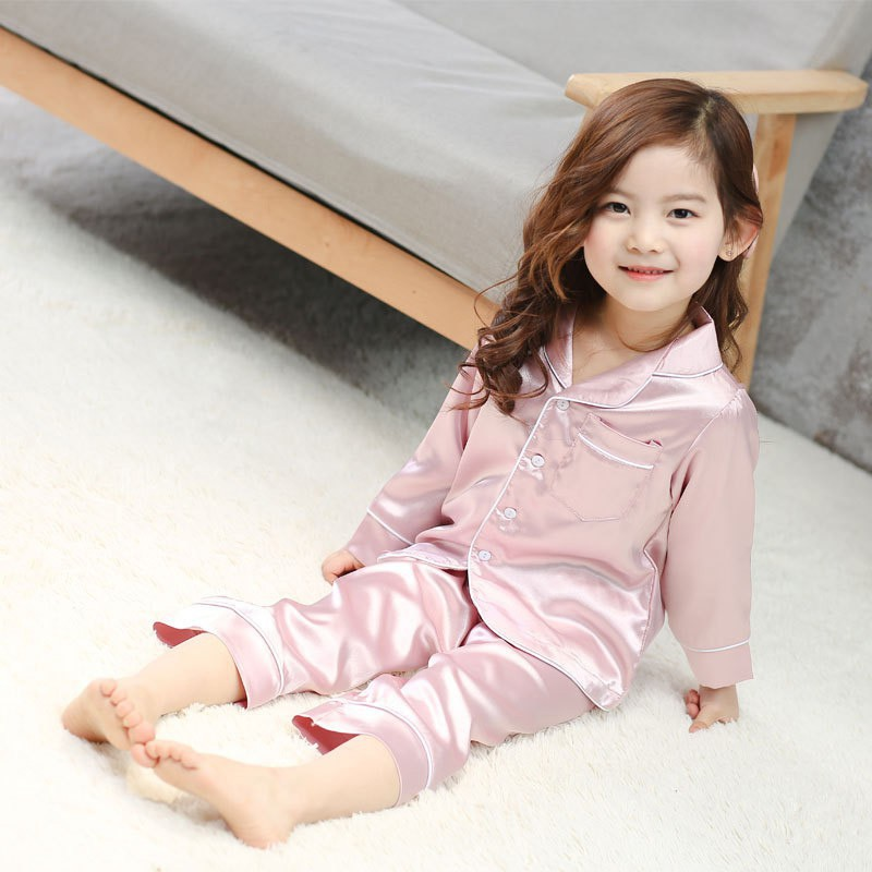 2pcs Girls Kids Pajamas Sets Silk Pyjama Infant Baby Sleepwear Home Clothing Bathing Suit Boy Pajama Children Summer Pajamas