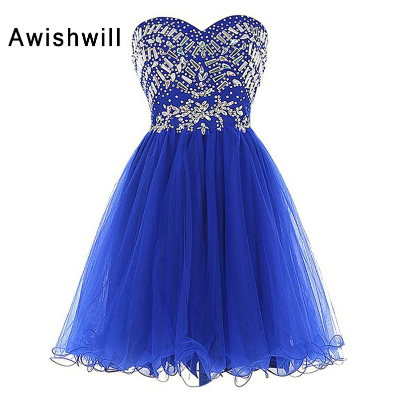 Fashion Sweetheart Rhinestones Draped A-Line Royal Blue Short Homecoming   Dress   Prom   Cocktail     Dress   2019