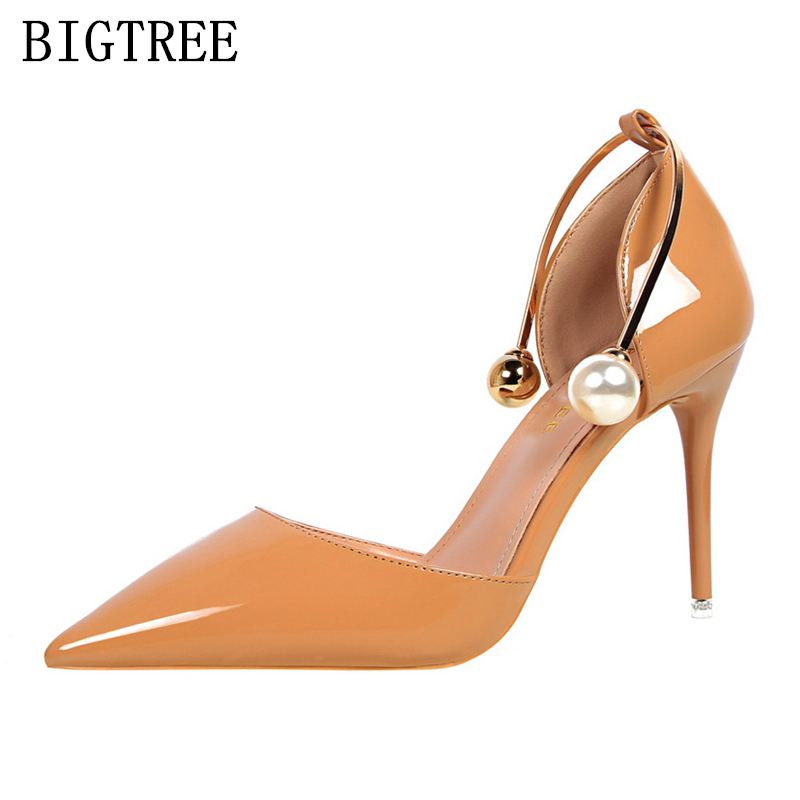 high heels women sandals designer bigtree shoes Patent Leather Pearl luxury brand wedding shoes sexy pumps valentine shoes woman bigtree 2017 sexy pearl metal point toe patent leahter high heels pumps shoes woman s red sandals heels shoes wedding shoes k109