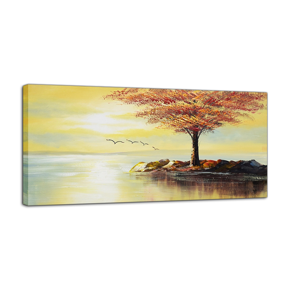 Modern Abstact Sunset Flying Birds Oil Painting Red Tree Canvas Art ...