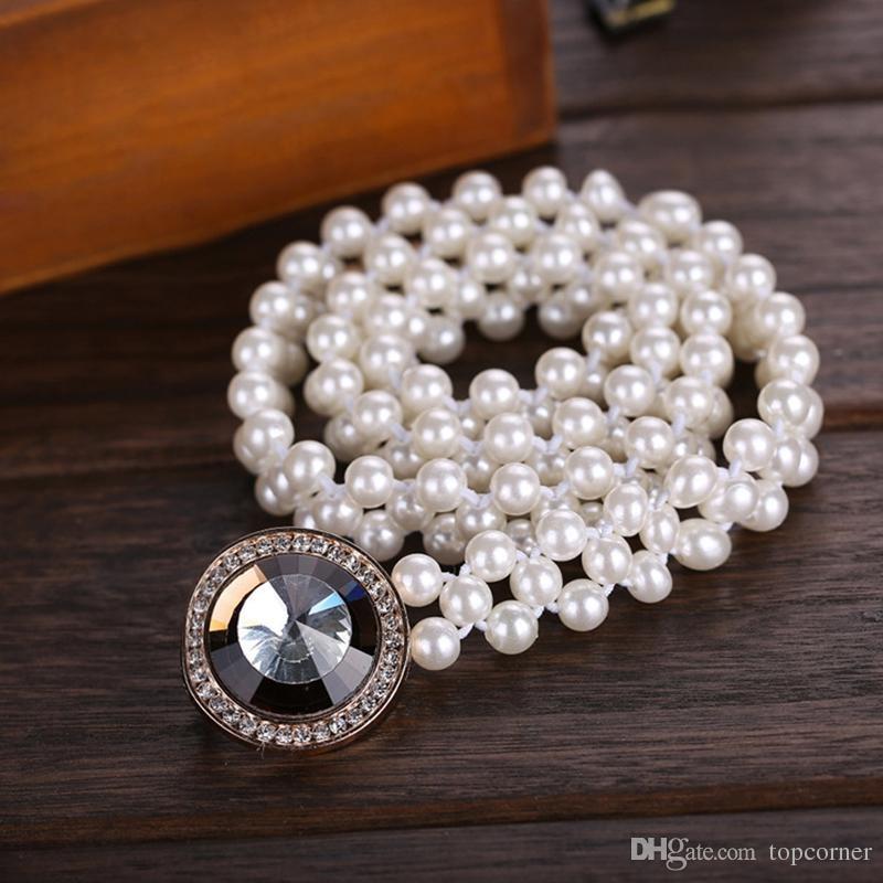 20pcs/lot Noble Crystal Buckles Pearls Waist Belts Three Lines Beading Slender Waistbands Girls Dress Decoration os869
