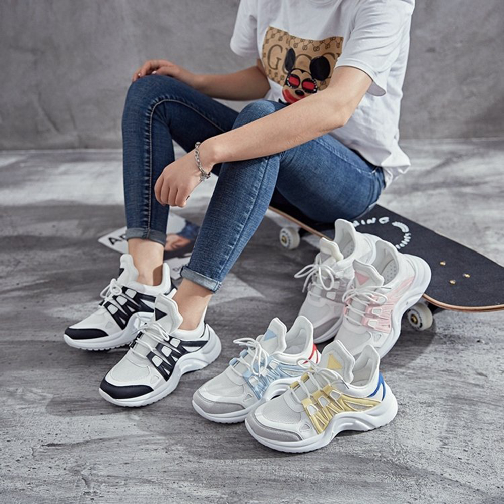 Women Sneakers 2019 New Fashion Women Casual Shoes Trends Ins Female White Flats Platform Spring Summer Lace Up Tenis Feminino