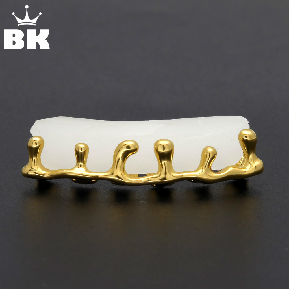 Custom Fit Gold Farbe Hip Hop Zähne Tropf Grillkappen Unten Unten Grill Oben Unten Zähne Grill Set
