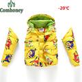 Children's Winter Jackets Cartoon Duck Down Coat for Boys Infant Girl Parka Baby Boy Snowsuit Kid Sleeves Detachable Ski Suit