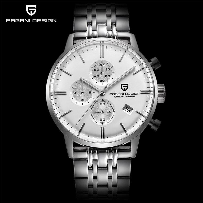 PAGANI DESIGN Mens Watches Top Brand Luxury Waterproof 30M Genuine Leather Japanese VK67 Movement Quartz Watch Relogio Masculino