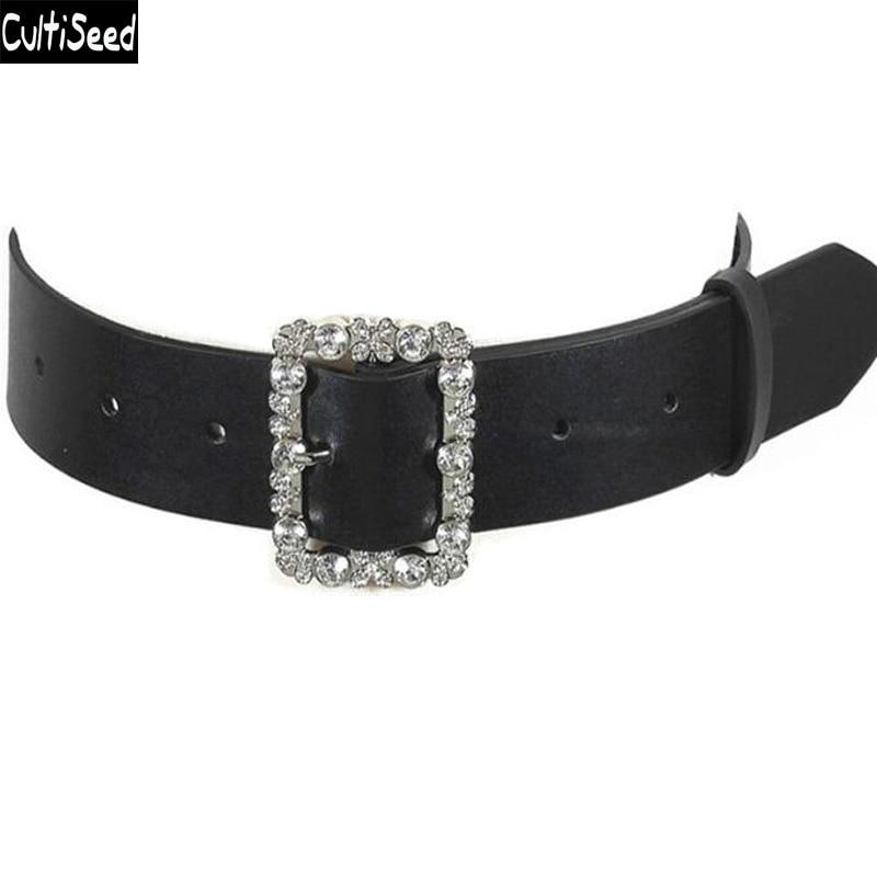 Cultiseed Women Cummerbunds Female 2020 New Big Diamonds PU Leather Waist Belts Wide Belt Dress Adornment For Women Waistband