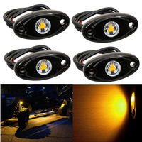 4pcs Yellow 9W LED Rock Light For JEEP Offroad Truck Under Body Trail Rig Lamp Truck
