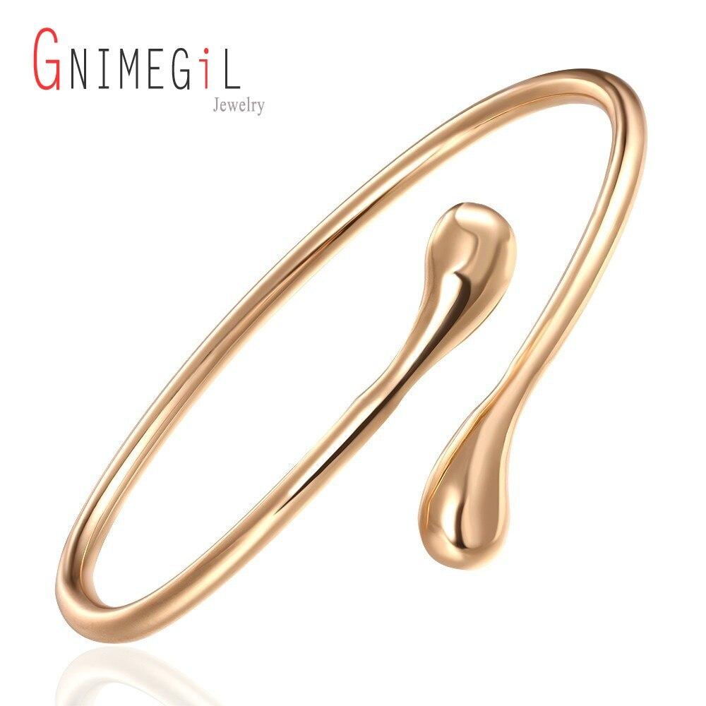 145eb6b47db GNIMEGIL Simplicidade da Cor do Ouro Novo Designer da Marca de moda gota de  água De Metal Ajustável Cuff Bangle Pulseira Para Mulheres pulseiras .