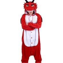 New Adult Animal  red dragon Cosplay Pajamas  Onesie Sleepwear Costume