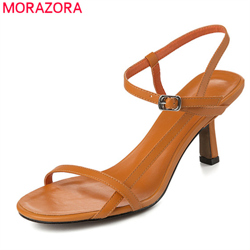 MORAZORA 2019 new arrival women sandals genuine leather shoes stiletto heels party wedding shoes woman sexy
