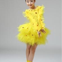 Праздничные сценические костюмы с героями мультфильмов; Детская летняя одежда с короткими рукавами и изображением животных; Карнавальный костюм для девочек; костюм цыпленка для выступлений;#71211