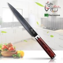 HAOYE 8 zoll Damaskus hackmesser Japanischen vg10 Sashimi sushi fleisch filet küchenmesser schneiden werkzeug rot holzgriff geschenk NEUE