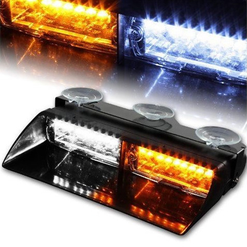 16 LEDs 12V Car Truck Emergency Flasher Dash Warning Light Day Running Flash Led Warning Light